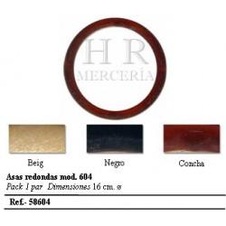 ASAS REDONDAS PARA BOLSO CAREY 13 cm diametro, JUEGO DE 2