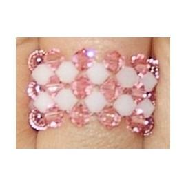 ANILLO TUPIES BLANCO-ROSA (conjunto pulsera regaliz rosa)